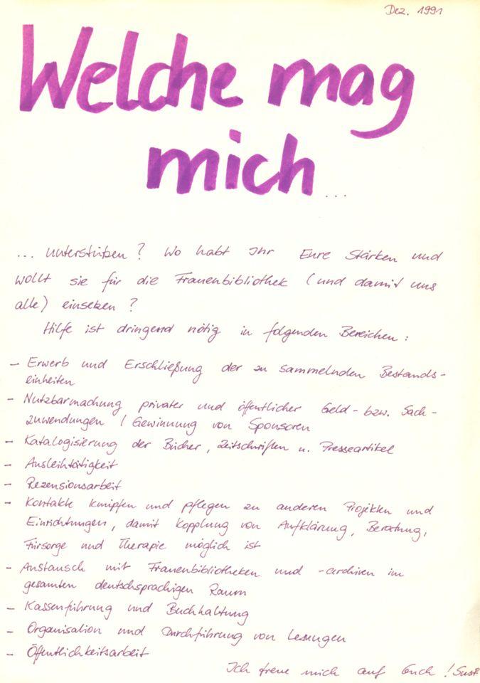 """Plakat """"Welche mag mich"""" / Seite 1"""