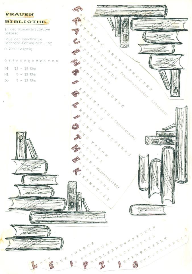 """Plakat """"Frauenbibliothek Leipzig"""" / Seite 1"""