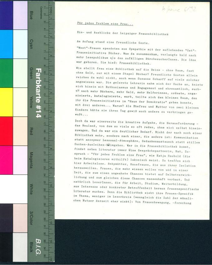 Für jedes Problem eine Frau... Ein- und Ausblicke der Leipziger Frauenbibliothek / Seite 1