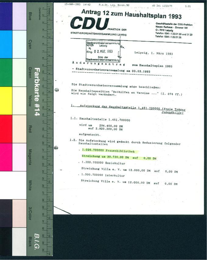 CDU-Antrag zum Haushaltsplan 1993 / Seite 1