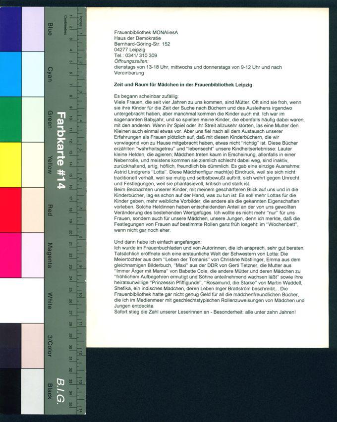 Zeit und Raum für Mädchen in der Frauenbibliothek Leipzig / Seite 1