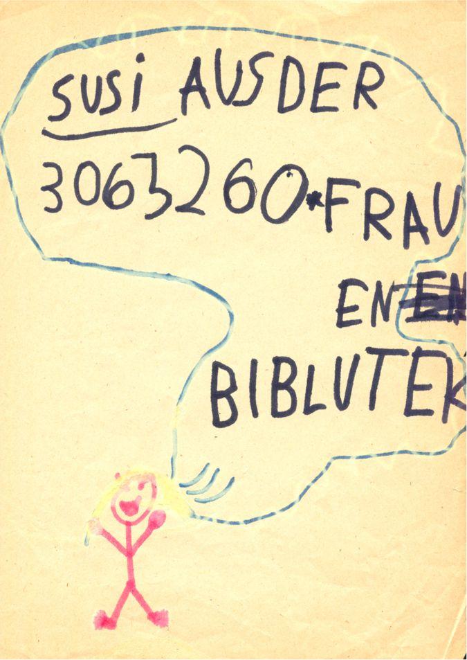 """Kinderzeichnung """"Susi aus der Frauenbiblutek"""" / Seite 1"""