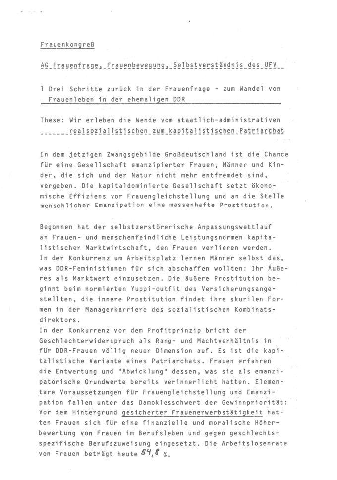 AG Frauenfrage, Frauenbewegung, Selbstverständnis des UFV : Ergebnis der AG-Diskussion / Seite 1