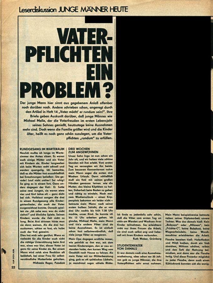 Leser*innendiskussion: Junge Männer heute: Vaterpflichten ein Problem? / Seite 1