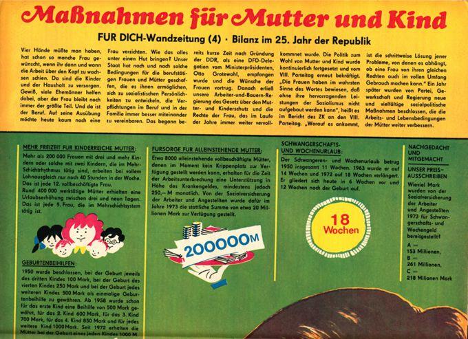 Für Dich-Wandzeitung: Maßnahmen für Mutter und Kind. Bilanz im 25. Jahr der Repu / Seite 1