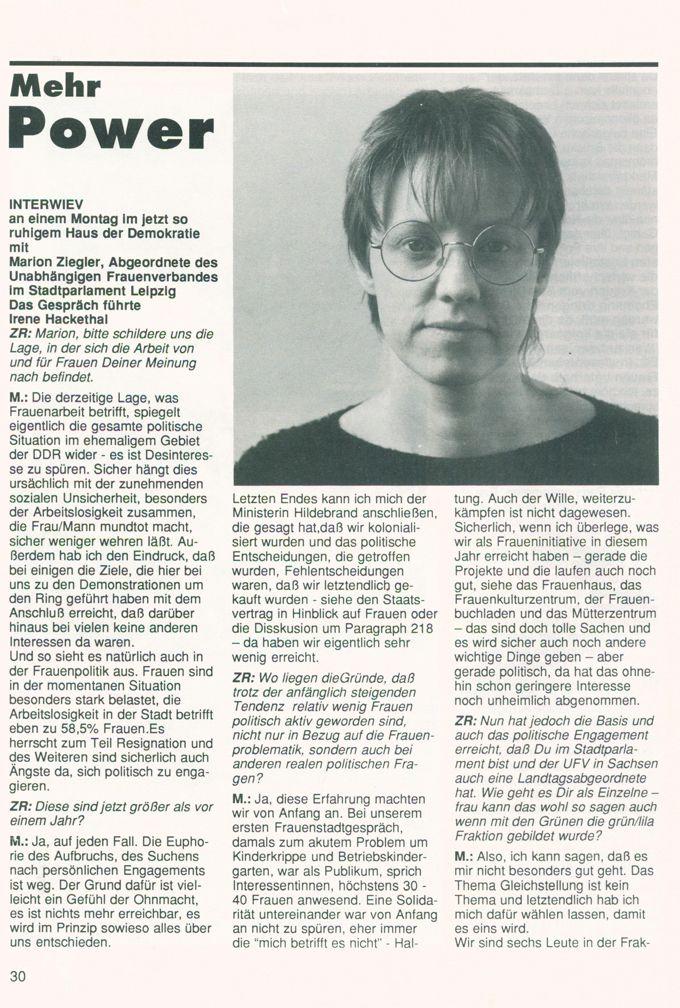 Mehr Power : Interview mit Marion Ziegler. Abgeordnete des UFV im Leipziger Stadtparlament [Online Ressource] / Seite 1