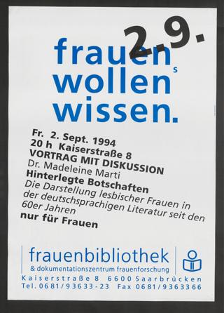 Hinterlegte Botschaften : Die Darstellung lesbischer Frauen in der deutschsprachigen Literatur seit den 60er Jahren