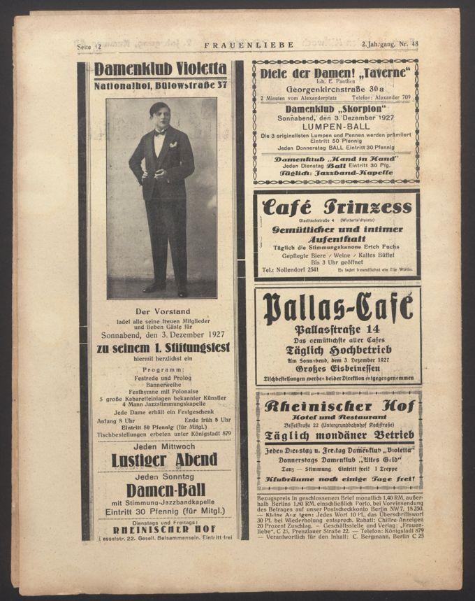 Liebende Frauen : Wochenschrift für Freundschaft, Liebe und sexuelle Aufklärung 2(1927)48 / Seite 12