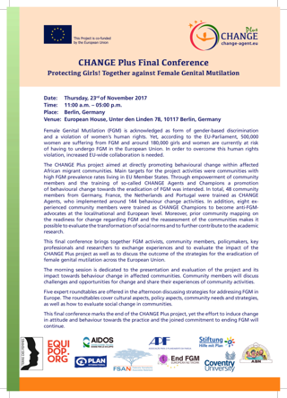 CHANGE Plus Final Conference : Protecting Girls! Together against Female Genital Mutilation