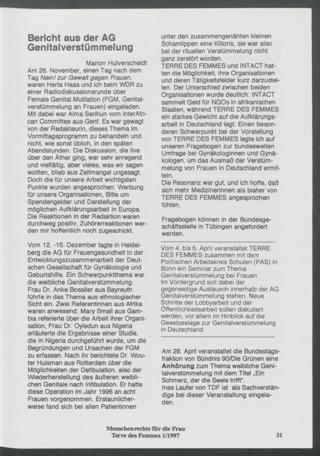 Bericht aus der AG Genitalverstümmelung