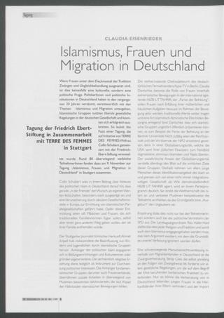 Islamismus, Frauen und Migration in Deutschland : Tagung der Friedrich Ebert-Stiftung in Zusammenarbeit mit TERRE DES FEMMES in Stuttgart