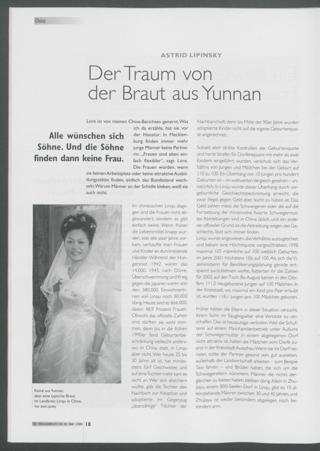 Der Traum von der Braut aus Yunnan : Alle wünschen sich Söhne. Und die Söhne finden dann keine Frau