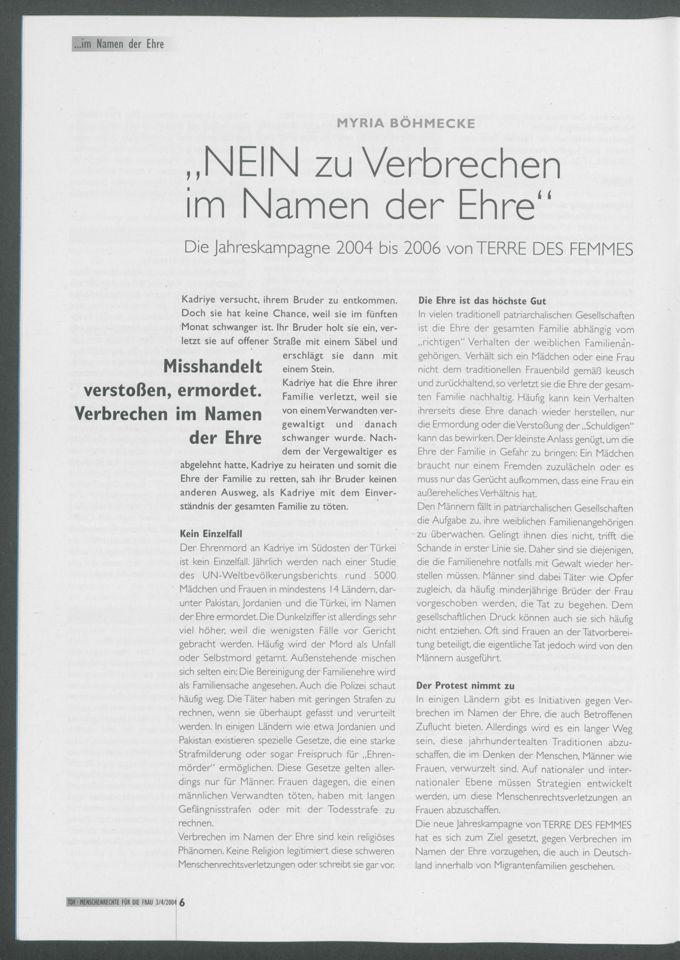 Nein, zu Verbrechen im Namen der Ehre : Die Jahreskampagne 2004 bis 2006 von TERRE DES FEMMES