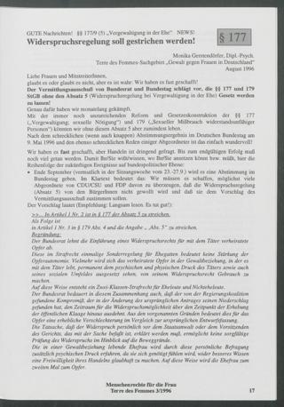 """§177 - Widerspruchsregelung soll gestrichen werden! : Gute Nachrichten! - §§ 177/9 (5) """"Vergewaltigung in der Ehe"""" News"""