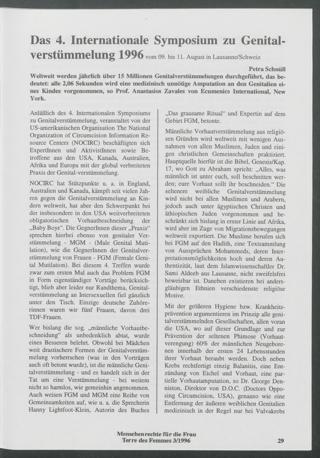 Das 4. Internationale Symposium zu Genitalverstümmelung 1996 vom 09. bis 11. August in Lausanne/Schweiz