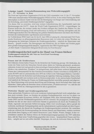 Leipziger Appell : Unterschriftensammlung zum Welternährungsgipfel 13. - 17. November in Rom.