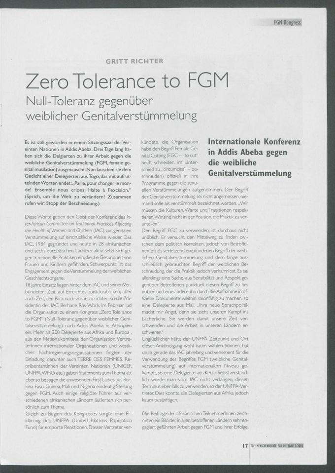 Zero Tolerance to FGM : Null Toleranz gegenüber weiclicher Genitalverstümmelung