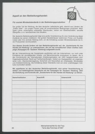 Für soziale Mindeststandards in der Bekleidungsproduktion : Appell an den Bekleidungshandel