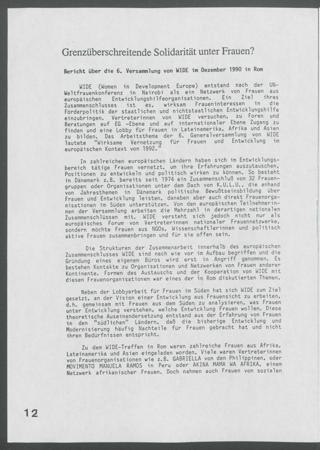 Grenzüberschreitende Solidarität unter Frauen? : Bericht über die 6. Versammlung von WIDE im Dezember 1990 in Rom