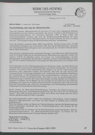 Presseerklärung zum Tag der Menschenrechte.