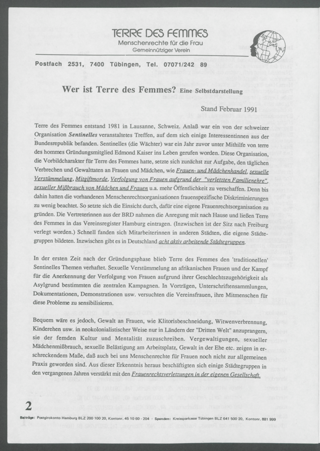 Wer ist Terre des Femmes? : Eine Selbstdarstellung; Stand Februar 1991