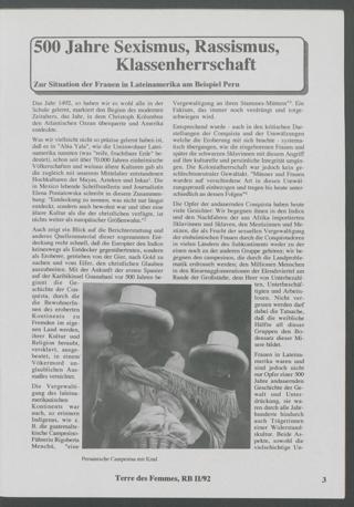 500 Jahre Sexismus, Rassismus, Klassenherrschaft : Zur Situation der Frauen in Lateinamerika am Beispiel Peru