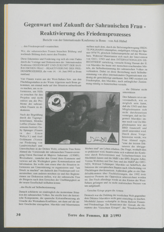 Gegenwart und Zukunft der Sahrauischen Frau : - Reaktivierung des Friedensprozesses. Bericht von der Internationale Konferenz in Bonn