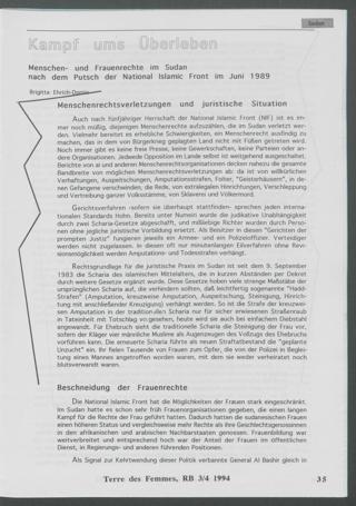 Kampf ums Überleben : Menschen- und Frauenrechte im Sudan nach dem Putsch der National Islamic Front im Juni 1989