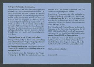 Sehr geehrte Frau Justizministerin, die sogenannten Sexualstrafdelikte (...) : (Teil einer Serie von 4 Prostestaktions-Postkarten)