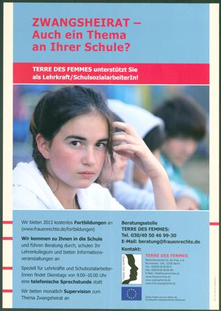 ZWANGSHEIRAT - Auch ein Thema an Ihrer Schule? : TERRE DES FEMMES unterstützt Sie als Lehrkraft/SchulsozialarbeiterIn!